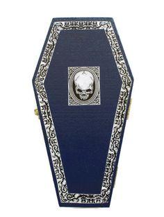 Halloween Skull Coffin Ring Box In Blue by HeidisTreasureChest