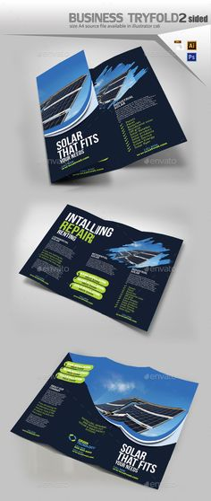 Buy Solar Tri Fold Brochure by Designcrew on GraphicRiver. Solar Tri Fold Brochure fully editable in illustrator and photoshop Source: Ai, eps, psd size: by 11 Ble. Letterhead Template, Brochure Template, Flyer Template, Pamphlet Design, Solar Projects, Cool Business Cards, Business Brochure, Print Templates, Solar Energy