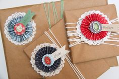 Smashed Peas and Carrots: TUTORIAL: Paper Rosette Gift Name Tags