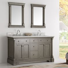 "Kingston 60"" Double Sink Bathroom Vanity with Mirror"