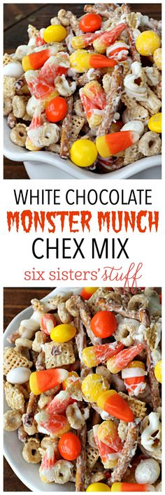 White Chocolate Monster Munch Chex Mix on SixSistersStuff.com- this stuff is perfect for parties!