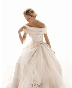 love this classic off the shoulder #wedding gown