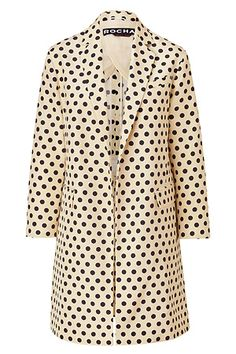 ROCHAS Polka Dot Coat | More stripes, polka dots and pom poms here: http://mylusciouslife.com/colour-textiles-stripes-polka-dots-pom-poms/