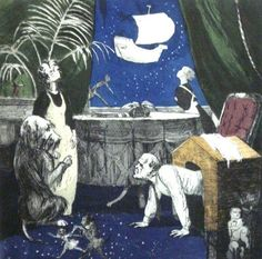 Paula Rego, the Return from Peter Pan Series, colored aquatint