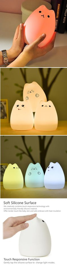 GoLine Cute Kitty LED Children Night Light, Multicolor Silicone Soft Baby Nursery Lamp, Sensitive Tap Control, Warm White & 7-Color Breathing Dual Light. [Dual Light Modes&Tap Control]: Press the main power button on the bottom to turn it on/off. Tap the soft silicone surface to switch among normal white light mode, 7-color breathing light mode …