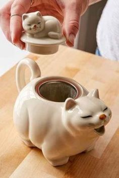 large white cat with closed eyes, yawning open mouth as spout and tail as handle, small sleeping kitten on its back as knob, w/ wire mesh basket strainer, ceramic and stainless steel Crazy Cat Lady, Crazy Cats, Small Kittens, Teapots And Cups, Chocolate Pots, Tea Time, Tea Party, Tea Cups, Pottery