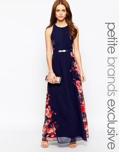 @tashr Little Mistress Petite Floral Placement Maxi Dress