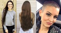 Her stylist got a little carried away last time she went in for a trim. Long Hair Cut Short, Long Pixie Cuts, Very Long Hair, Girl Short Hair, Short Hair Styles, Before After Hair, Before And After Haircut, Buzz Cut Women, Buzz Cuts