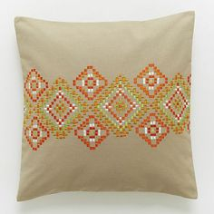 Embroidered Horizontal Mosaic Pillow Cover #westelm