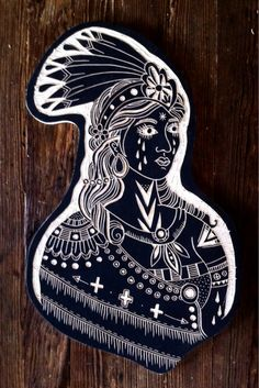 Native lady. Based on Heather Baileys flash from the spider Murphy book. 2012. Woodcut by Bryn Perrott