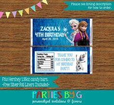 personalised chocolate wrappers party bag favours favors FROZEN ELSA ANNA OLAF 2