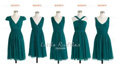 Custom Teal Bridesmaid DressShort by LittleRufflesBridal on Etsy, $89.39 Lots of options. This is def too green for Steph's (?) but other colors?