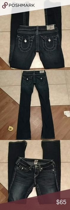 True religion jeans Beautiful rich blue Becky true religion jeans. Great condition. Size 25 with inseam of 33 inches rise is 6 inches and waist flat measures 14 inches. 99% cotton 1% spandex. True Religion Jeans Boot Cut