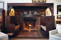 Inglenooks & Fireplace Seating Photos: Dream Home Details — Apartment Therapy Fireplace Seating, Inglenook Fireplace, Rustic Fireplaces, Farmhouse Fireplace, Open Fireplace, Fireplace Design, Fireplace Ideas, Basement Fireplace, Craftsman Fireplace