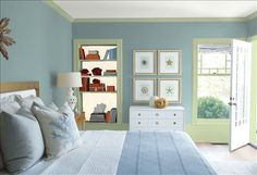 Look at the paint color combination I created with Benjamin Moore. Via @benjamin_moore. Wall: Sea Star 2123-30; Trim: Landscape 430; Bookcase Back Wall: Vanilla Ice Cream 2154-70; Ceiling: White Heron OC-57.