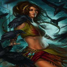 abstract Gypsies | Corvus Corone - abstract, gypsy, girl, fantasy, crows, magic