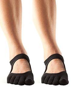 ToeSox Womens Full Toe Bellarina Grip Non-Slip Yoga Socks 2 Pack (Black, Medium