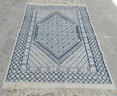 Blue rug blue  kilim rug rug Margoum kilim white rug by nicerugs