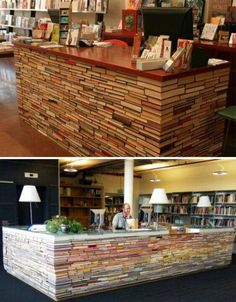 Library desk made of books! this should be done more often, you wouldn't believe how many books get discarded by libraries every day!