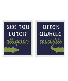 Alligator Nursery Wall Art Print Set - See You Later Alligator Quote Navy Blue Green Madras Gator - Preppy Baby Boy Room Toddler - by RizzleandRugee on Etsy https://www.etsy.com/listing/198473538/alligator-nursery-wall-art-print-set-see