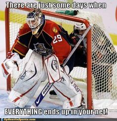 There are just some days when EVERYTHING ends up in your net! #hockey