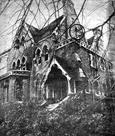 abandoned gothic mansion at Crouch End, north London (witchcraft rituals rumored conducted there in early 1970s)