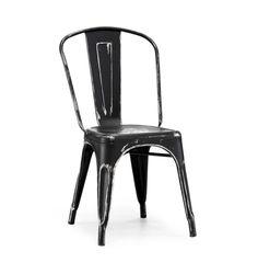 Tolix Style Stackable Vintage Black Matte + Silver Side Chair Set of 4 $440