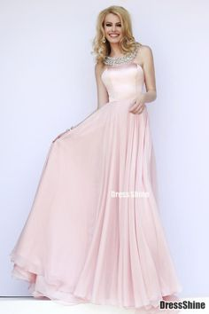 Lovely Halter A Line Satin and Chiffon Pink Prom Dress - PROM