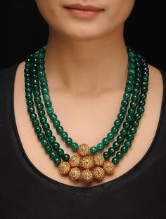 Buy Green Golden Gold Tone Jade Necklace Silver Copper Alloy Fashion Jewelry Necklaces/Pendants On. Bead Jewellery, Fashion Jewelry Necklaces, Jewelery, Dress Jewellery, Jewellery Sale, Fashion Necklace, Jewellery Market, Tanishq Jewellery, Jade Necklace
