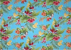 80waina stylized, brightly-colored bird of paradise, monstera, palm fronds and leaves apparel cotton, tropical Hawaiian vintage style fabric...
