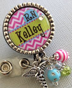 Personalized ID Badge Reel  - nurse, RN, ccu, cardiac nurse, LMT, chevron print, Cardiac Rehab.,medical symbol, technician