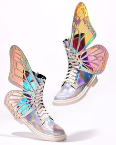 "peachblushparlour: ""Holographic Butterfly Wing Boots available to purchase August PDT "" Fancy Shoes, Pretty Shoes, Cute Shoes, Me Too Shoes, Butterfly Shoes, Star Butterfly, Butterfly Fashion, Holographic Boots, Girls Shoes"