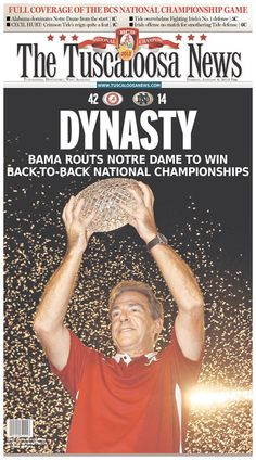 GALLERY: Alabama wins 2012 BCS National Championship: newspaper front pages: See 24 versions from Alabama, Indiana and Florida. http://itswa.de/ala2013 #rolltide