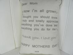 Mothers Day Mom/Mum Quote Mini Pillow by TheSewingCroft on Etsy, £9.00