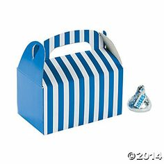 Mini Blue Striped Treat Boxes