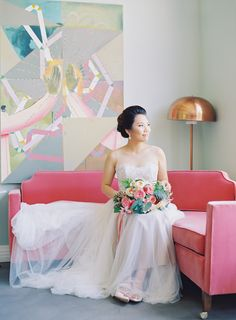 Photography : The Great Romance Photo Read More on SMP: http://www.stylemepretty.com/2016/10/10/modern-colorful-fig-house-wedding/