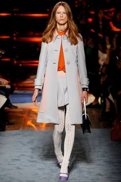 Miu Miu Spring 2014: Mod. Textured tights. Grey, pink and orange with a touch of purple.