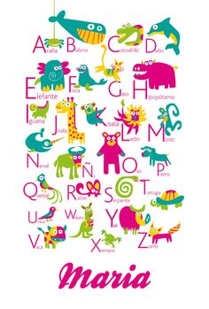 Personalized Spanish Alphabet Poster with animals from A by pukaca