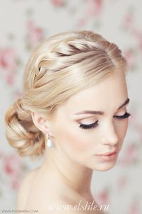 Singe braid hair with professional wedding cosmetics for a blonde bride
