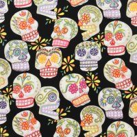 Alexander Henry Calaveras (skulls) fabric-I like the black background and the pink background as well