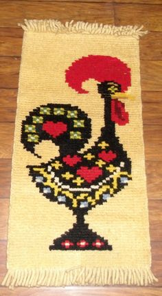 Handmade Wool Rooster Wall Hanging Vintage Wall by salvagetheory, $315.00