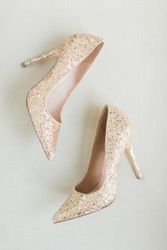 Gold glitter pointed toe pumps: Wedding Photographers: Koman Photography - http://komanphotography.com   Read More on SMP: http://www.stylemepretty.com/california-weddings/2017/03/08/mixing-old-world-and-modern-with-not-one-but-two-stunning-venues/