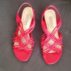 Wedge Laura Scott Sandals Red weaved strap sandals with a 1 inch wedge for comfort. In very good condition. Only worn twice! Laura Scott Shoes Sandals