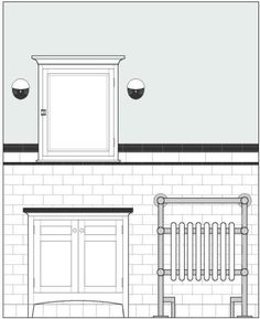 What color would you paint a mostly black and white bathroom? I'm remodeling my bathroom and going for a black and white vintagey but not period look. I've decided to go more intense on the black accents than usual with a black chair rail rather than white and the outside of my clawfoot tub will be ... Bathroom Colors, White Bathroom, Small Bathroom, Bathroom Renos, Bathroom Ideas, Bathrooms, Polywood Adirondack Chairs, White Subway Tiles, Tile Layout