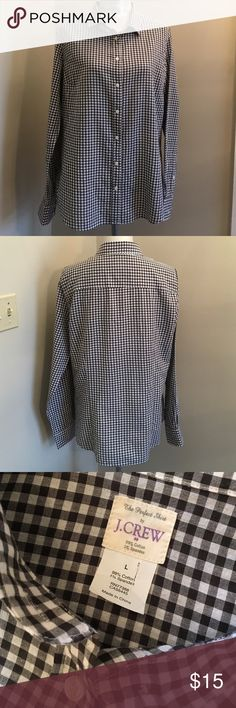 "J. Crew Perfect Shirt Check Gingham BLK & WHT L Nice shirt. Worn 12 times. Thin button up. Great for layering. Just washed and pressed. Marked size large. Sleeve length 26.5"" inches. Arm pit to arm pit 23 inches. From back of neck to hem 28.5"" inches. In my opinion it fits like a size 12. J. Crew Tops Button Down Shirts"