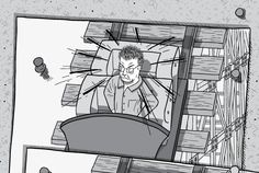 Drawing of cartoon stuck to corkboard #1: angry cartoon man in roller coaster car. Turning around quickly.  Image from Stuart McMillen's comic Peak Oil (2015), from the book Thermoeconomics (2017).