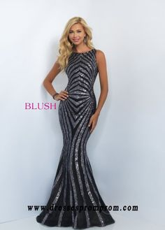 Blush Prom 11118 Striped Sequin High Neck Fit & Flare Gown O