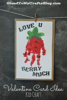 """Berry Much"" Valentine Handprint Card"