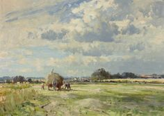 Carting The Marsh Hay - Edward Seago - Portland Gallery Watercolor Painting Techniques, Sky Painting, Watercolor Paintings, Watercolours, Oil Paintings, Watercolor Landscape, Landscape Art, Landscape Paintings, Art Aquarelle