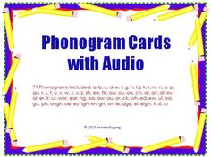 71 Phonogram cards with audio support.  Students can watch the slide show and click on the sounds for each phonogram.71 Phonograms included: a, b, c, d, e, f, g, h, i, j, k, l, m, n, o, p, qu, r, s, t, u, v, w, x, y, z, sh, ee, th, ow, ou, oo, ch, ar, ay, ai, oy, oi, er, ir, ur, wor, ear, ng, ea, aw, au, or, ck, wh, ed, ew, ui, oa, gu, ph, ough, oe, ey, igh, kn, gn, wr, ie, dge, ei, eigh, ti, si, ci